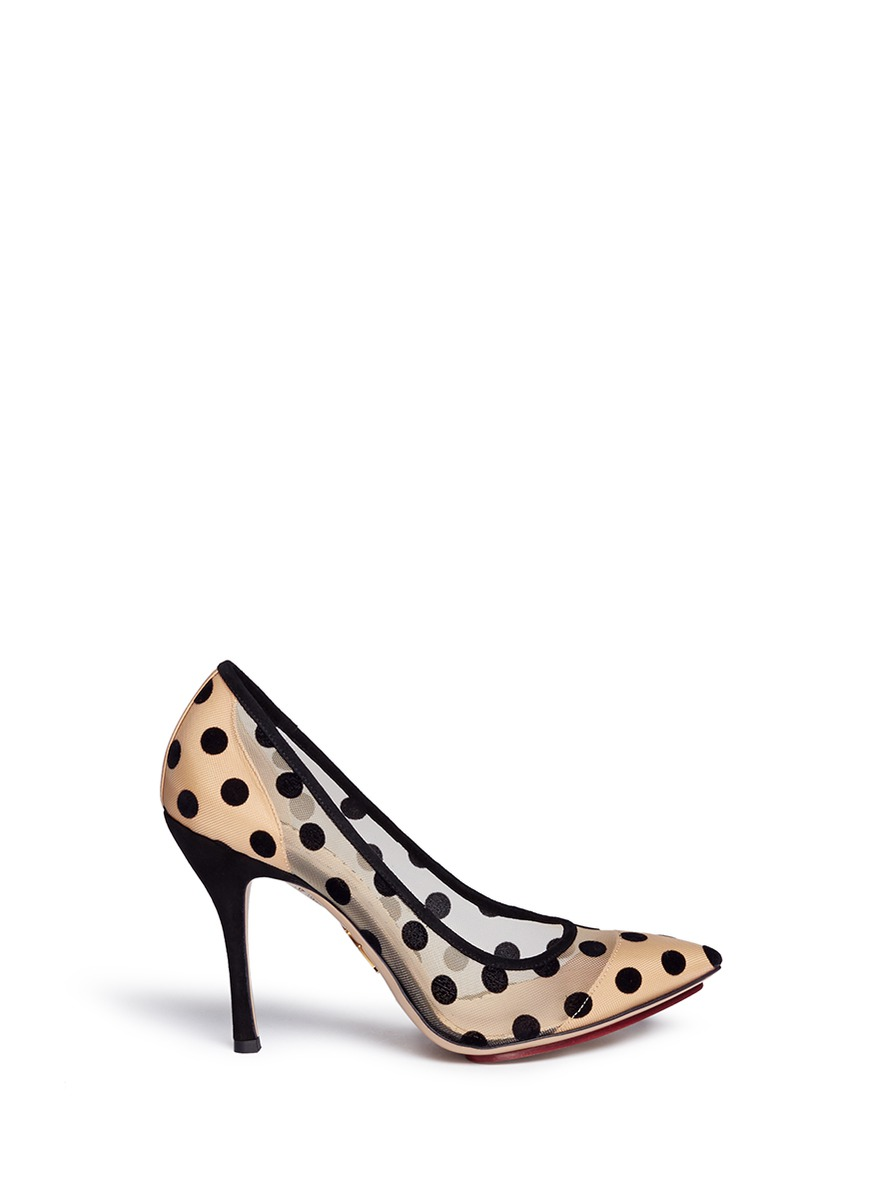 Bacall flocked polka dot mesh pumps by Charlotte Olympia