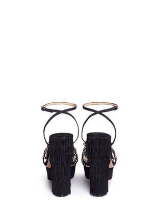 Back View - Click To Enlarge - Charlotte Olympia - 'Miss Cha Cha Cha' fringed heel pearl embellished sandals