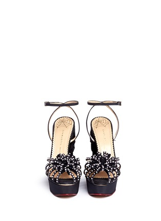 Front View - Click To Enlarge - Charlotte Olympia - 'Miss Cha Cha Cha' fringed heel pearl embellished sandals