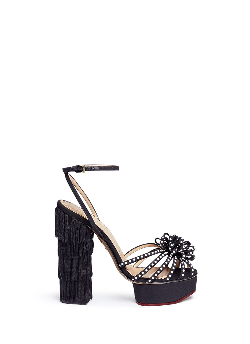 Miss Cha Cha Cha fringed heel pearl embellished sandals by Charlotte Olympia