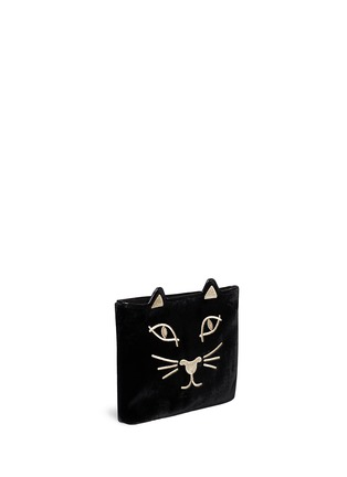 Detail View - Click To Enlarge - Charlotte Olympia - 'Kitty' embroidered velvet pouch
