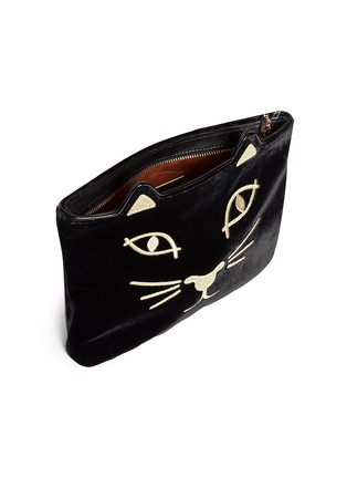 - Charlotte Olympia - 'Kitty' embroidered velvet pouch