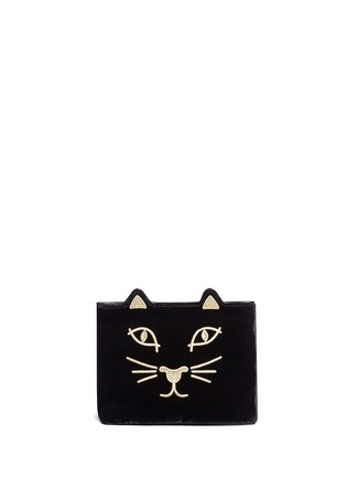 Main View - Click To Enlarge - Charlotte Olympia - 'Kitty' embroidered velvet pouch