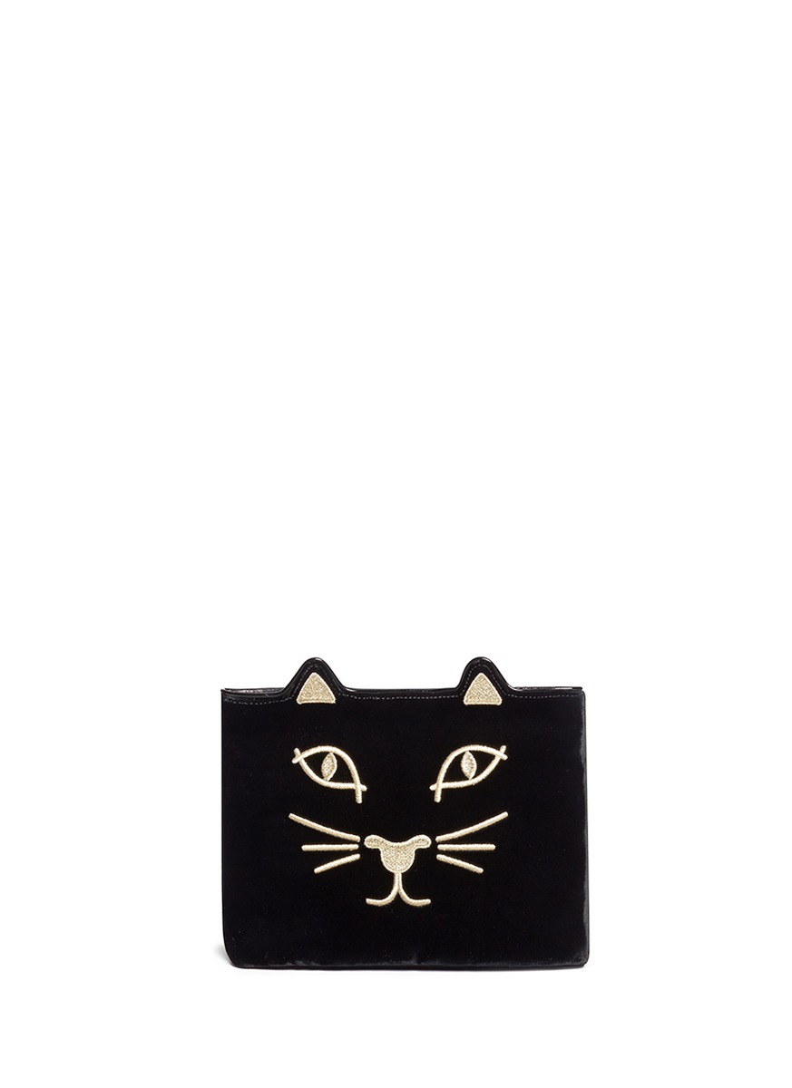 Kitty embroidered velvet pouch by Charlotte Olympia