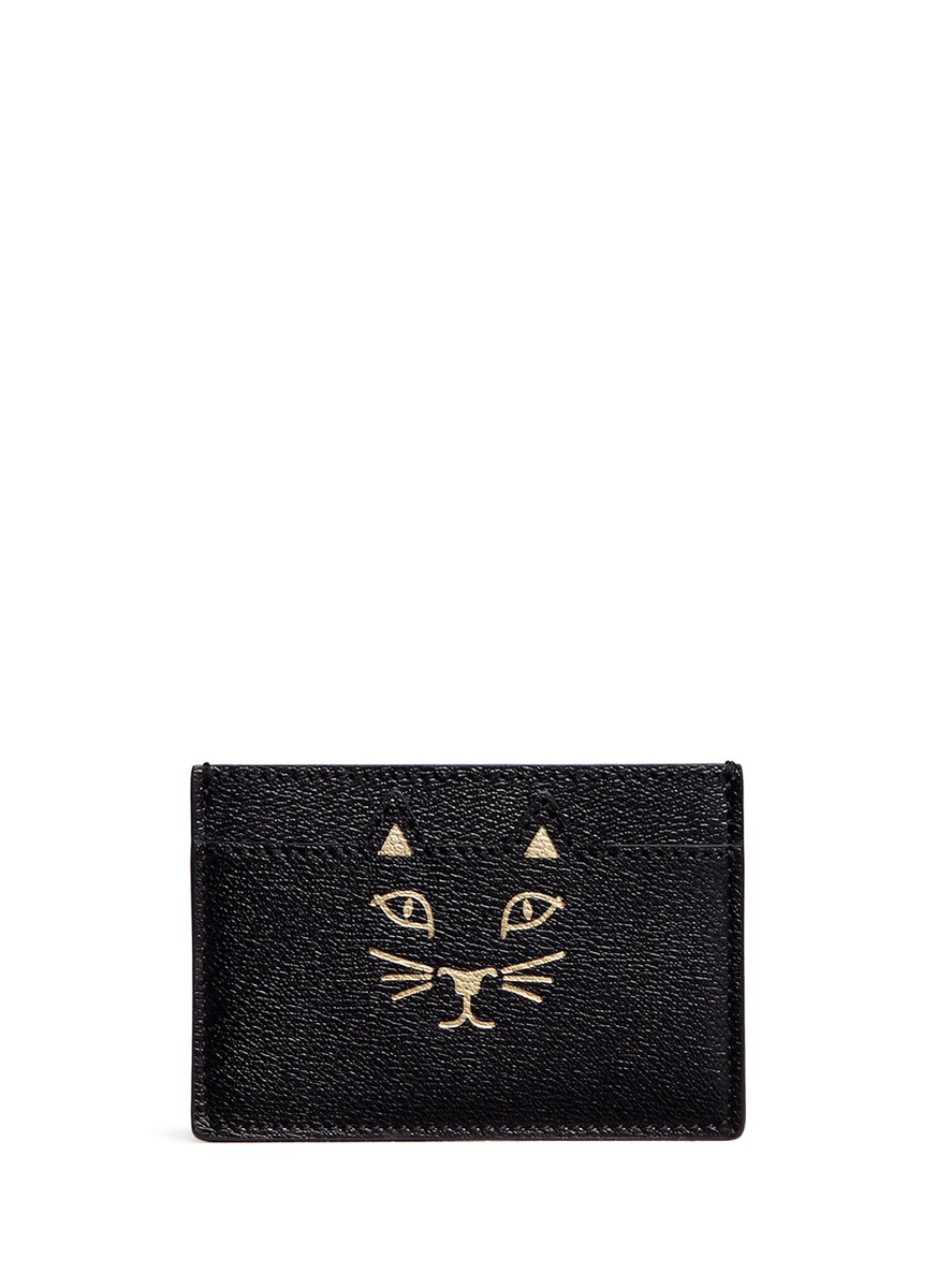 Feline cat face leather card holder by Charlotte Olympia