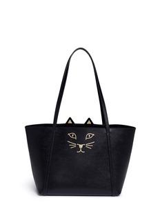 Charlotte Olympia'Mini Feline Shopper' saffiano leather tote