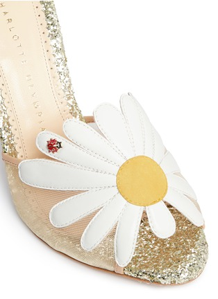 Detail View - Click To Enlarge - Charlotte Olympia - 'Margherite' ladybug daisy appliqué glitter sandals