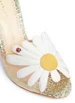 'Margherite' ladybug daisy appliqué glitter sandals