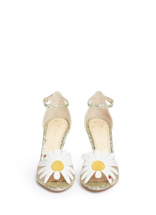 Front View - Click To Enlarge - Charlotte Olympia - 'Margherite' ladybug daisy appliqué glitter sandals