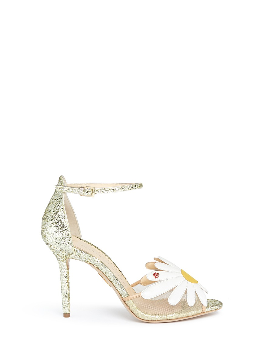 Margherite ladybug daisy appliqué glitter sandals by Charlotte Olympia