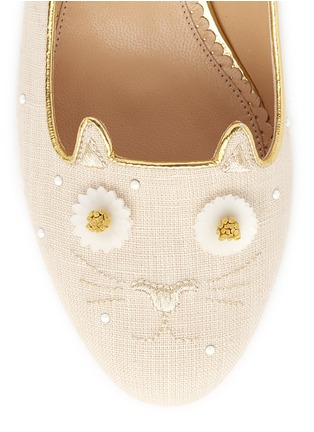 Detail View - Click To Enlarge - Charlotte Olympia - 'Floral Kitty' honeybee embroidered linen flats