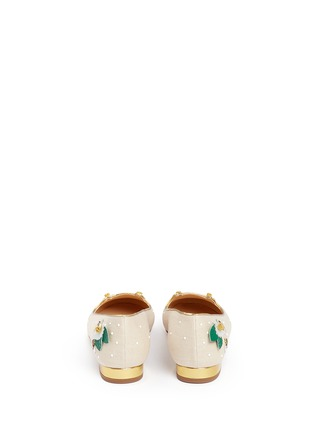 Back View - Click To Enlarge - Charlotte Olympia - 'Floral Kitty' honeybee embroidered linen flats
