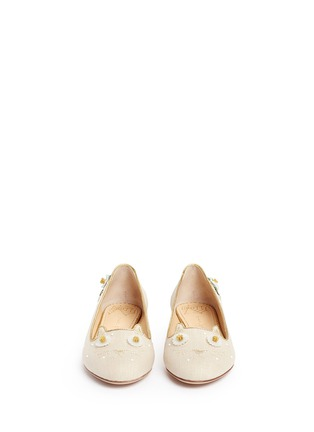 Front View - Click To Enlarge - Charlotte Olympia - 'Floral Kitty' honeybee embroidered linen flats
