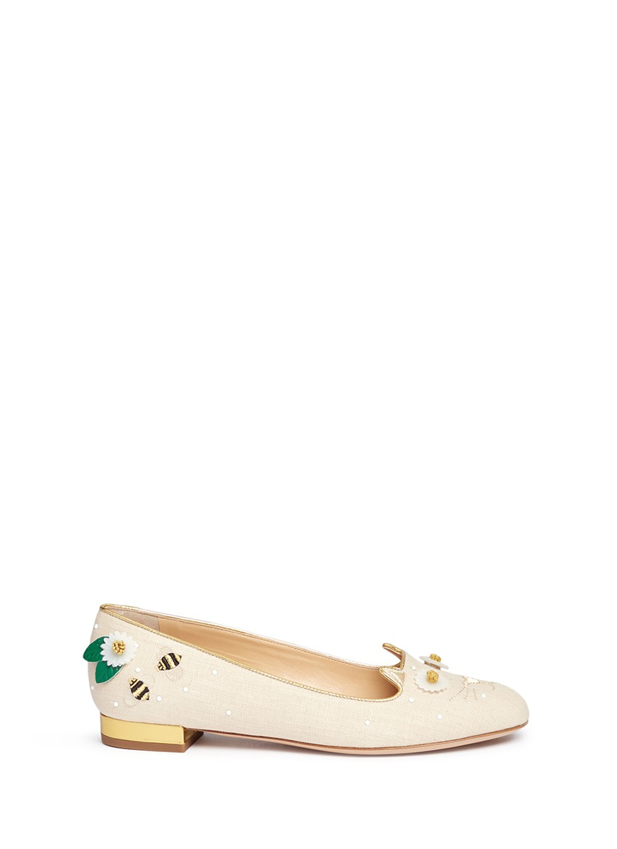 Floral Kitty honeybee embroidered linen flats by Charlotte Olympia