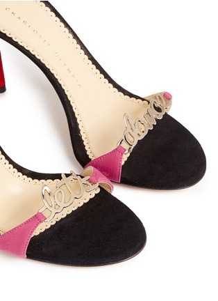 Detail View - Click To Enlarge - Charlotte Olympia - 'Let's Dance' wraparound tie suede sandals