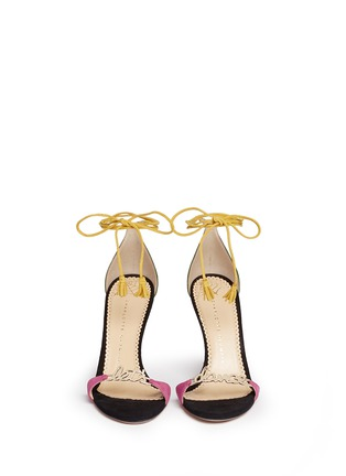 Front View - Click To Enlarge - Charlotte Olympia - 'Let's Dance' wraparound tie suede sandals