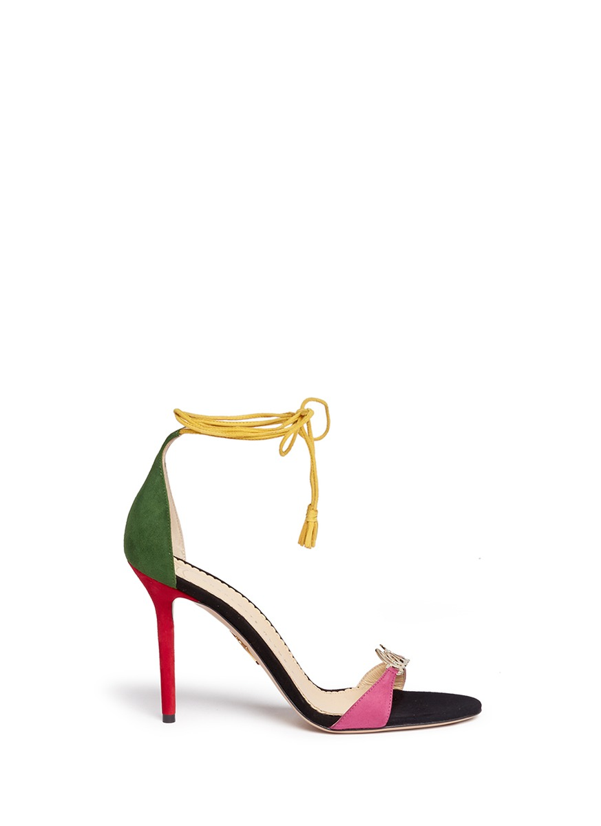 Lets Dance wraparound tie suede sandals by Charlotte Olympia