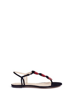 Charlotte Olympia 'Lucky' ladybug T-bar suede sandals