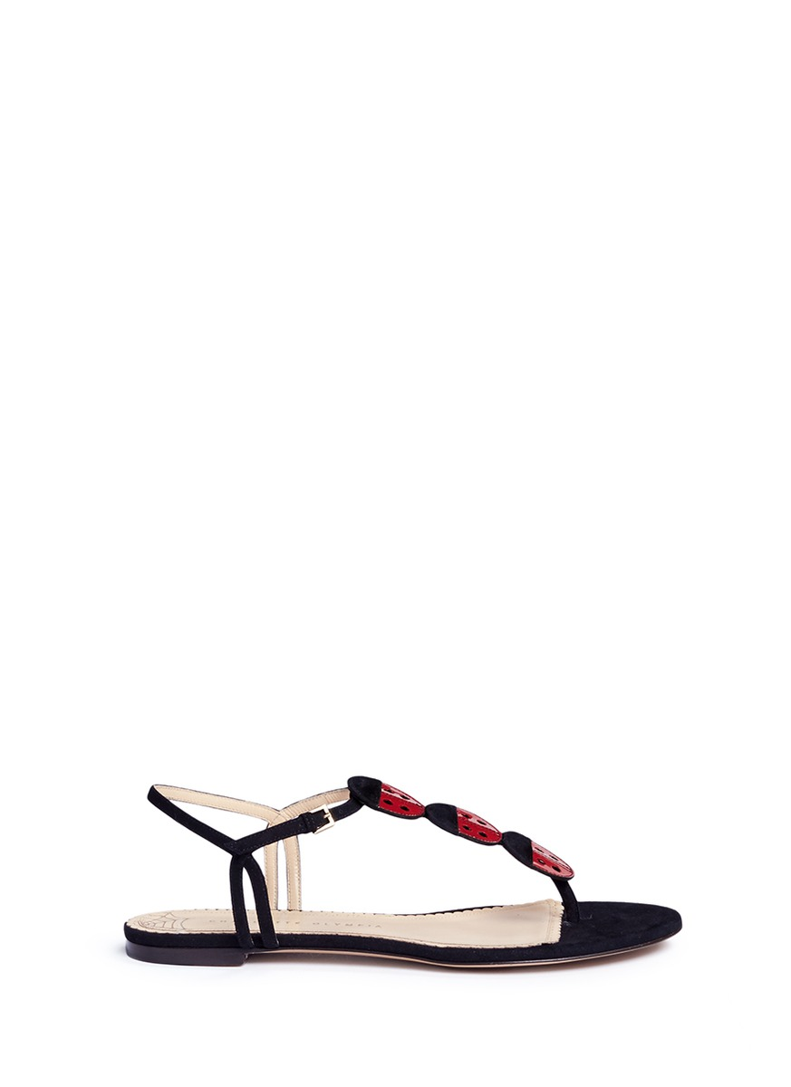 Lucky ladybug T-bar suede sandals by Charlotte Olympia