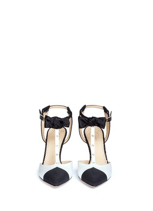 Charlotte Olympia - 'Black Tie' strass bow strap wingtip satin pumps
