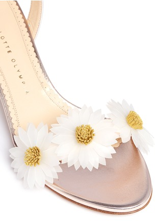 Detail View - Click To Enlarge - Charlotte Olympia - 'Tara' daisy appliqué metallic leather sandals