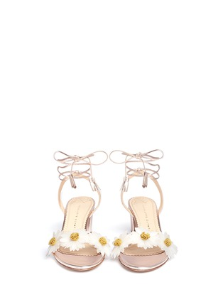 Front View - Click To Enlarge - Charlotte Olympia - 'Tara' daisy appliqué metallic leather sandals