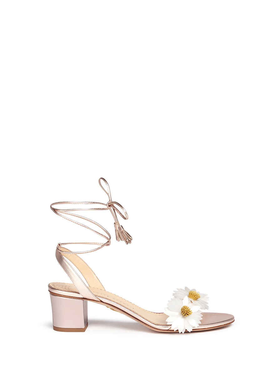 Tara daisy appliqué metallic leather sandals by Charlotte Olympia