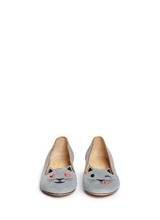 Front View - Click To Enlarge - Charlotte Olympia - 'Flirty Kitty' velvet flats