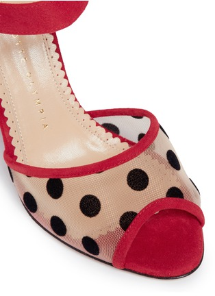 Detail View - Click To Enlarge - Charlotte Olympia - 'Emma' polka dot mesh suede sandals
