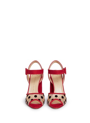 Front View - Click To Enlarge - Charlotte Olympia - 'Emma' polka dot mesh suede sandals