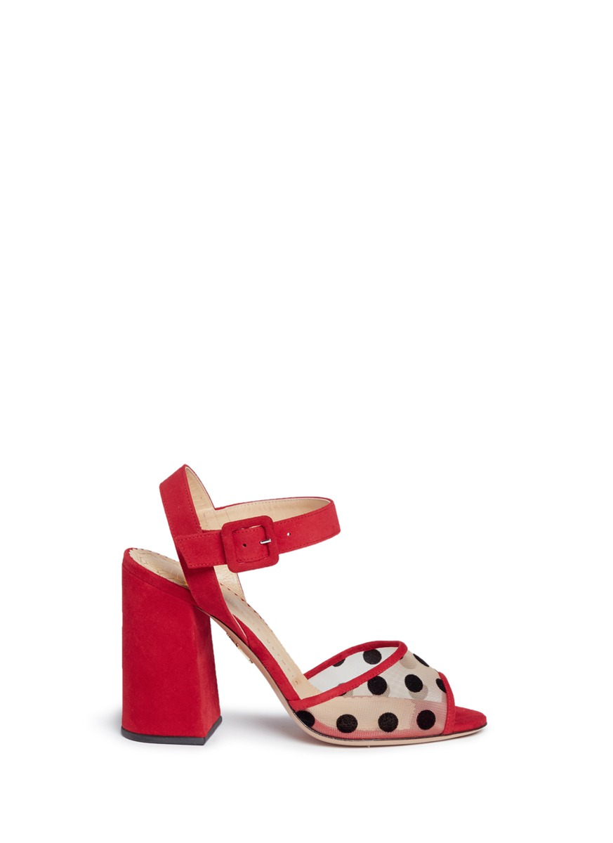Emma polka dot mesh suede sandals by Charlotte Olympia