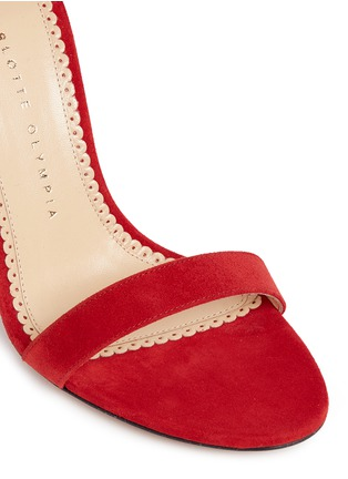 Detail View - Click To Enlarge - Charlotte Olympia - 'Salsa 95' scalloped trim tassel suede sandals