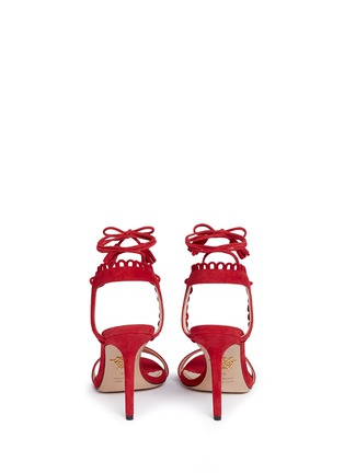 Back View - Click To Enlarge - Charlotte Olympia - 'Salsa 95' scalloped trim tassel suede sandals