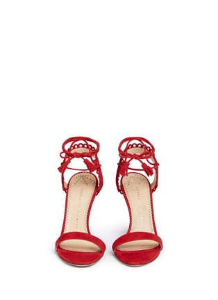 Front View - Click To Enlarge - Charlotte Olympia - 'Salsa 95' scalloped trim tassel suede sandals