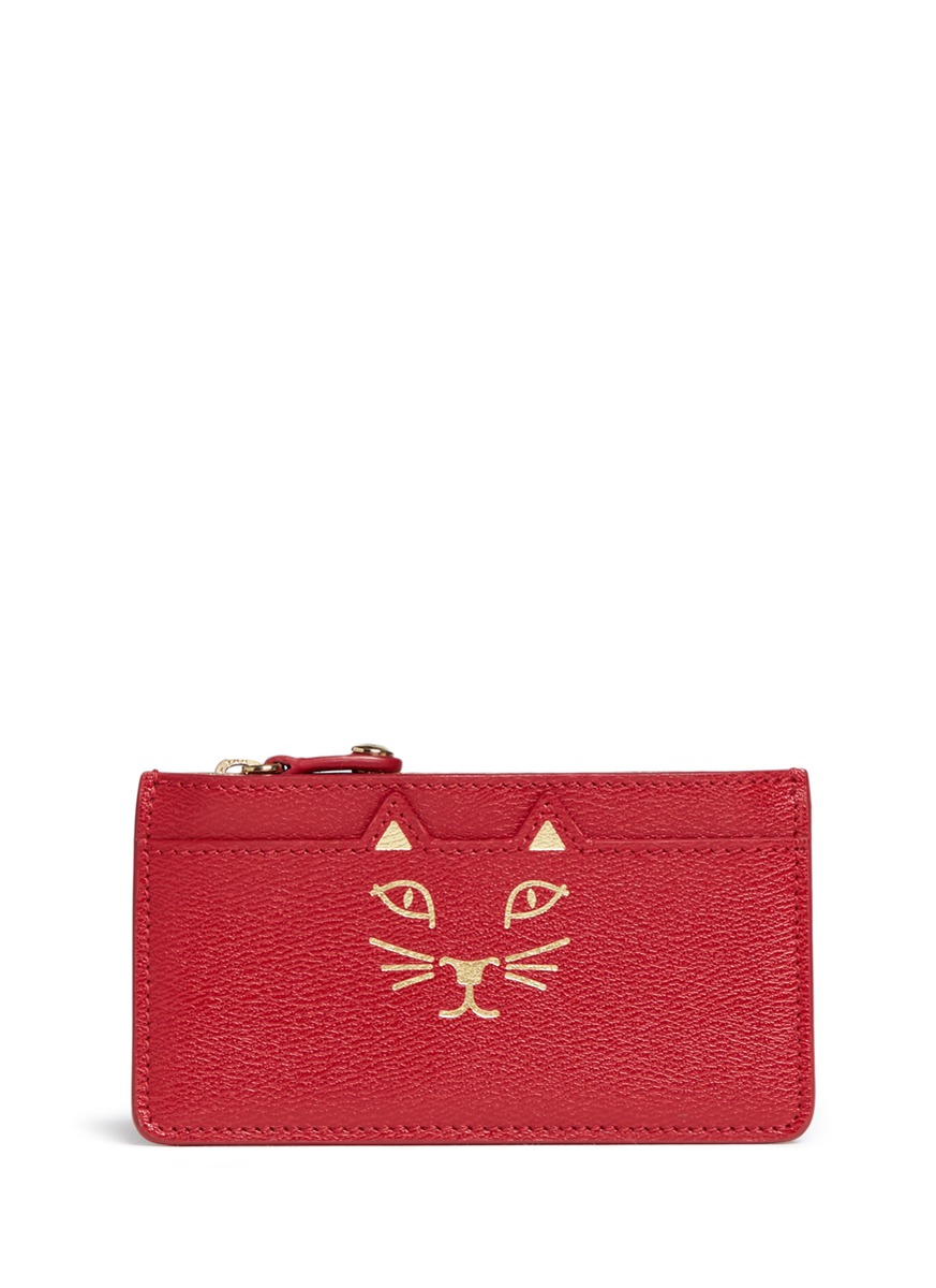 Feline cat face coin pouch by Charlotte Olympia