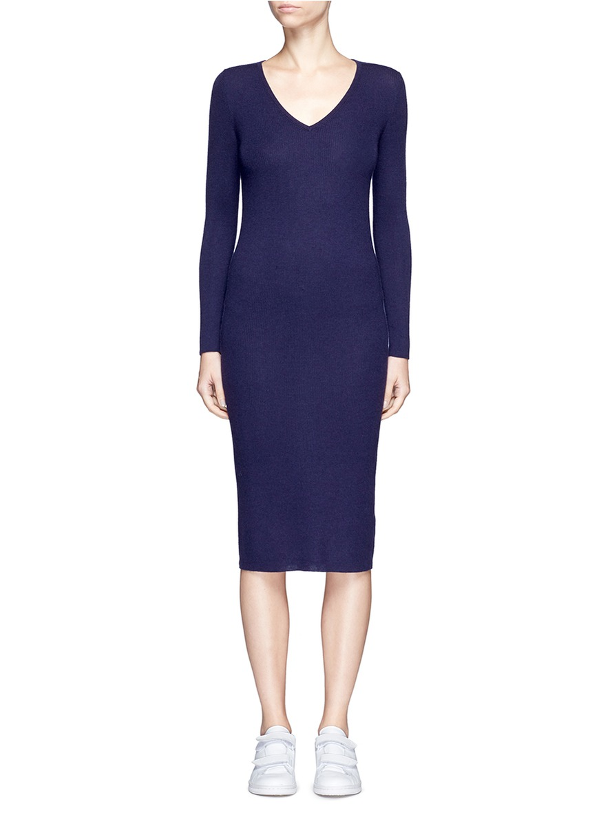 Cashmere rib knit midi dress by CRUSH Collection
