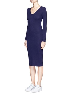 CRUSH Collection Cashmere rib knit midi dress