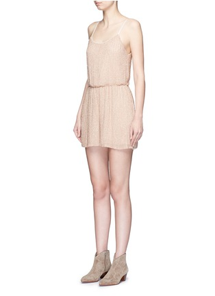 Front View - Click To Enlarge - alice + olivia - 'Mika' bead embellished silk romper