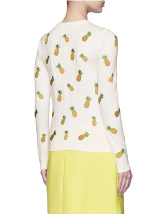 Back View - Click To Enlarge - alice + olivia - Pineapple embroidery cotton cardigan