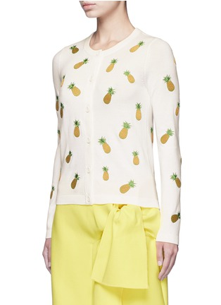 Front View - Click To Enlarge - alice + olivia - Pineapple embroidery cotton cardigan
