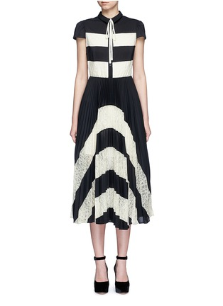 Main View - Click To Enlarge - alice + olivia - 'Gale' lace insert plissé pleat skirt chiffon dress