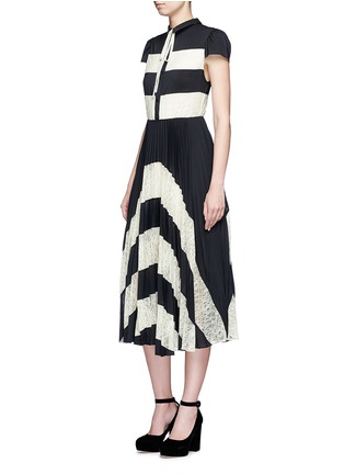 Figure View - Click To Enlarge - alice + olivia - 'Gale' lace insert plissé pleat skirt chiffon dress