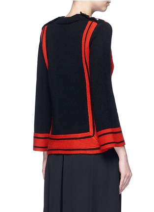 Back View - Click To Enlarge - Alexander McQueen - Bell sleeve stripe cashmere sweater