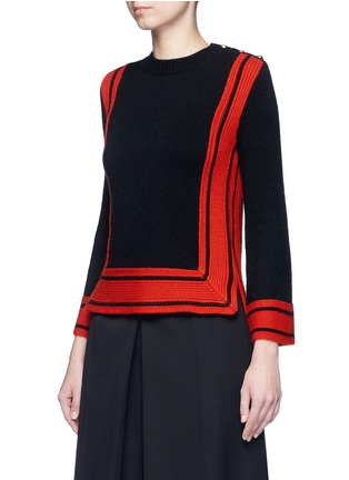 Front View - Click To Enlarge - Alexander McQueen - Bell sleeve stripe cashmere sweater
