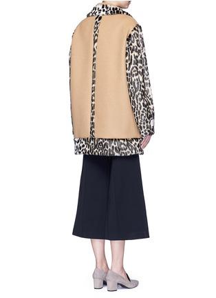 Back View - Click To Enlarge - Stella McCartney - Colourblock leopard faux fur melton coat