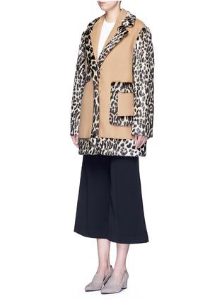 Front View - Click To Enlarge - Stella McCartney - Colourblock leopard faux fur melton coat