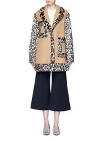 Colourblock leopard faux fur melton coat