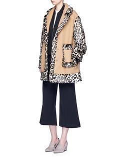 Stella McCartneyColourblock leopard faux fur melton coat