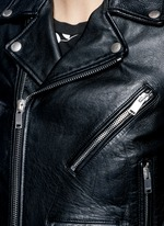 Belted leather motorcycle jacket
