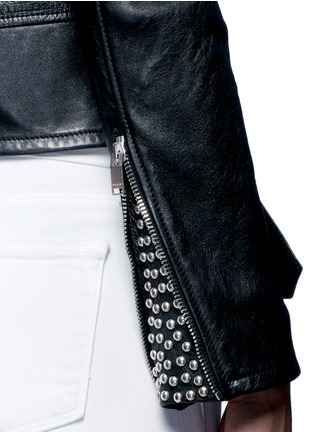 - Saint Laurent - Belted leather motorcycle jacket
